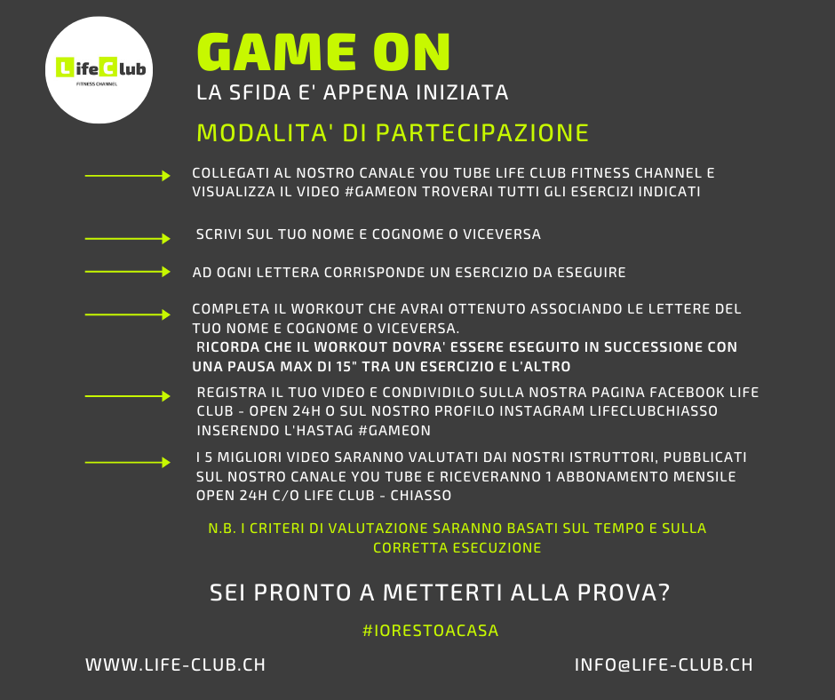 GameOn il primo fitness contest